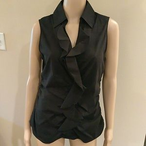 Black New York and Company frill front top.